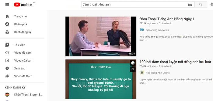 Youtube - kênh mạng xã hội với nguồn tài liệu học tiếng anh đa dạng